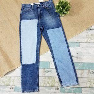 Calvin Klein High Rise Straight Colorblock Jeans